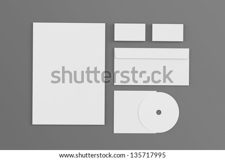 Blank corporate identity isolated on grey / stationery / lletterhead, envelope, business cards, disk