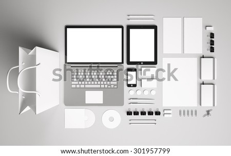Blank corporate identity set / Stationery / Branding. Consist of letterhead, folder, book, note, phone, tablet pc, business cards, pen, pencil, cd, buttons, envelope,package - stock photo
