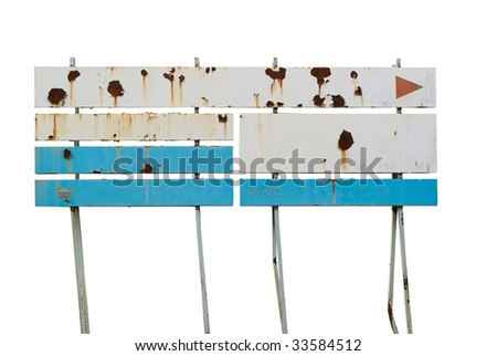 Blank, corroded metal sign, isolated on white background, free copy space - stock photo