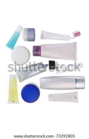 blank cosmetic containers top view isolated white