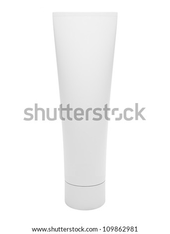 Blank cosmetic tube isolated on white background - stock photo