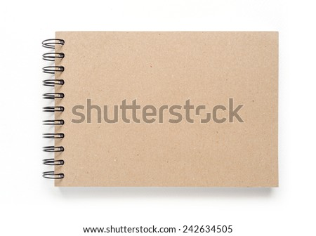 Blank cover notebook for painting, drawing and sketching on white background. - stock photo