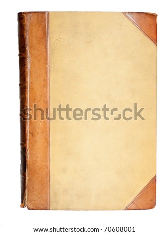 blank cover of 19-th century book with leather elements - stock photo