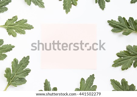 Blank craft paper card and green leaves on white background. Overhead view. Flat lay, top view.