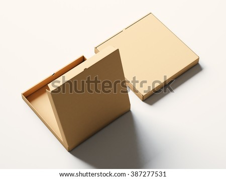 Blank craft paper open pizza box on white background. Horizontal mockup. 3d render - stock photo