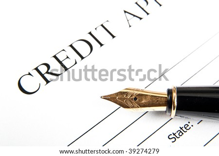Blank Credit Application Form Pen On Stock Photo