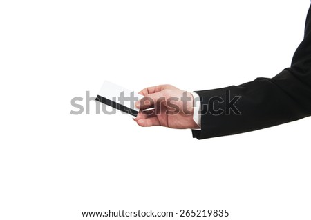 Blank credit card in a businessman's hand - stock photo