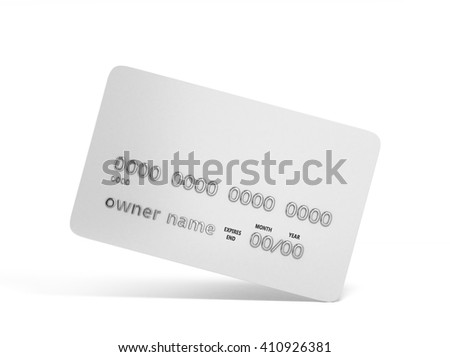 blank credit card with chrome numbers isolated on white 3d illustration