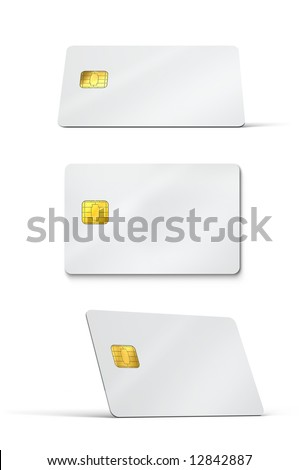 Blank credit cards - stock photo