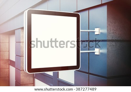 Blank cristal digital screen on the bulding city. Concrete facades of modern buildings. Horizontal mockup, isolated, blurred background. 3d render