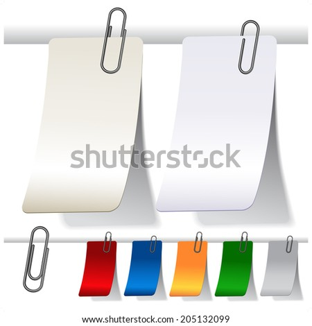 blank curled labels with paperclips