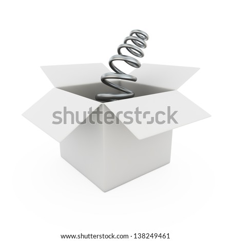 Blank curved metal spring from a box - stock photo