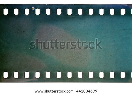 Blank cyan dark noisy film strip texture background - stock photo
