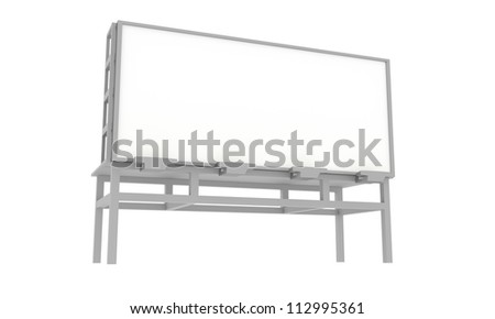 Blank 3D Rendered Billboard on White Background - stock photo