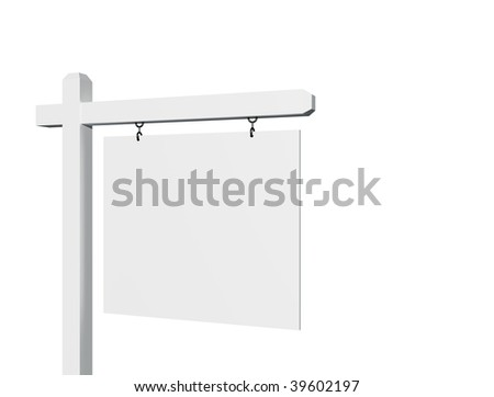 Blank 3D Sign Isolated on a White Background - ready for your message and your own background as well. - stock photo