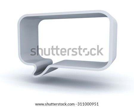 Blank 3d speech bubble isolated over white background with shadow - stock photo
