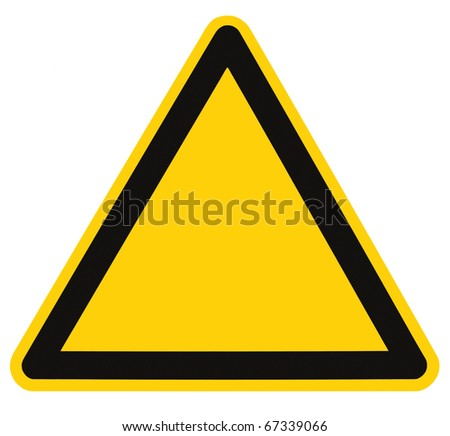 Blank Danger And Hazard Sign, isolated, black triangle over yellow, large macro - stock photo
