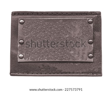 blank dark brown leather jeans label isolated on white - stock photo