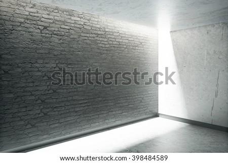 Blank dark grey brick wall in room interior with sunlight. Mock up, 3D Rendering - stock photo