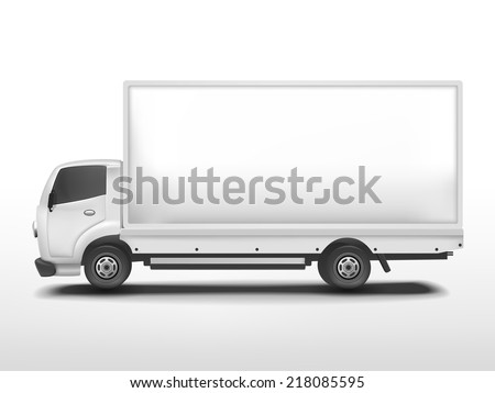 blank delivery truck isolated on white background - stock photo