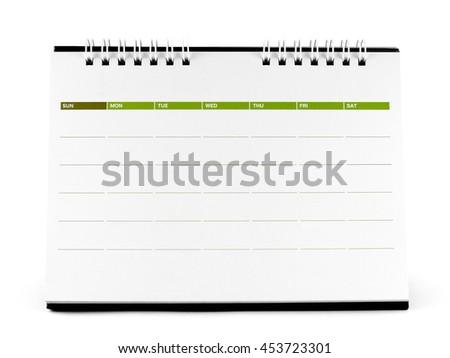 blank desk calendar isolated on white background - stock photo