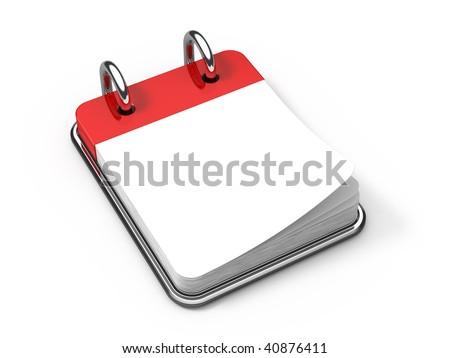 Blank Desk calendar on white - 3d render - stock photo