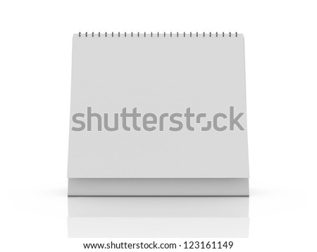 Blank desk calendar with reflection, front view, isolated on white background. - stock photo
