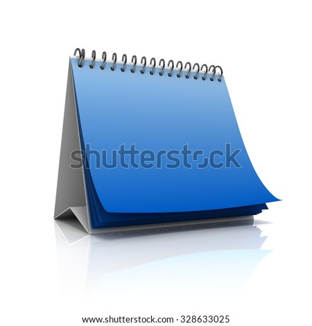Blank desktop calendar isolated on white background - stock photo
