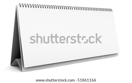 blank desktop calendar isolated on white background with clipping path