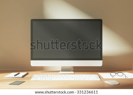 Blank desktop with keyboard, diary, cell phone on a wooden table at sunrise, mock up - stock photo