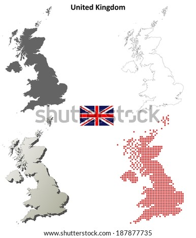 Blank detailed contour maps of United Kingdom - jpeg version