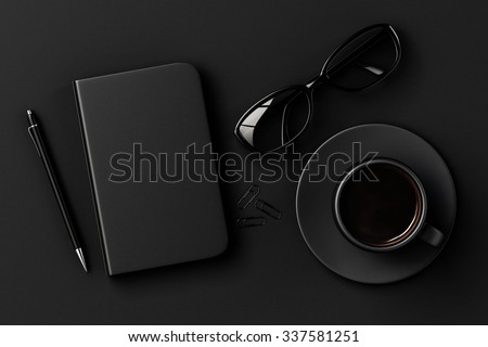 Blank diary, pen, cup of coffee, clips and glasses on black table 3D Render - stock photo