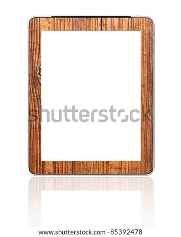 Blank digital PC tablet wood mount designed by photographer - stock photo