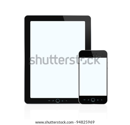 Blank digital tablet and mobile  smart phone isolated on white background with two clipping paths for both screens - stock photo