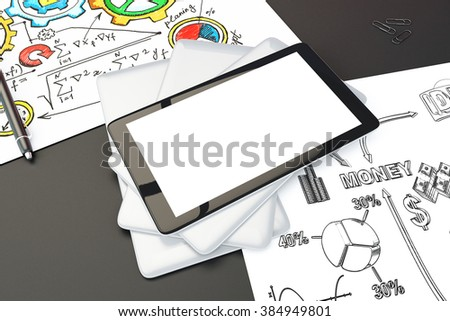 Blank digital tablet screen on black table with brainstorming schemes on the papers, mock up, 3D Render - stock photo