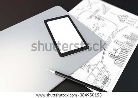 Blank digital tablet screen on laptop, paper with business scheme and pen on blank table, mock up, 3D Render - stock photo