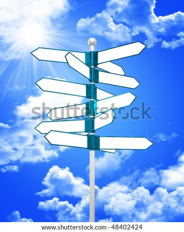 blank direction pointer 3d and blue sky background