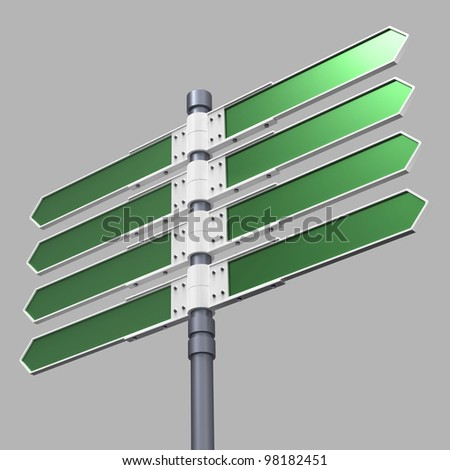 Blank direction sign with 8 arrows (add your text) with clipping path.