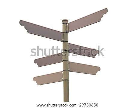 Blank direction signpost - stock photo