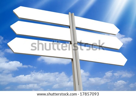 Blank directional arrow sign - stock photo