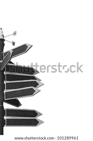 Blank Directional Arrow Sign isolated on withe - stock photo