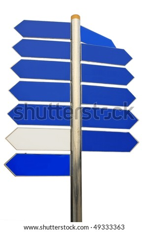 Blank Directional Arrow Sign. Put your text on the blank space. - stock photo