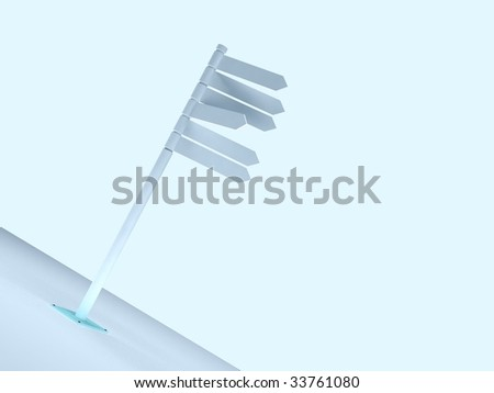 Blank Directional Metal Arrow Sign on sky background - stock photo