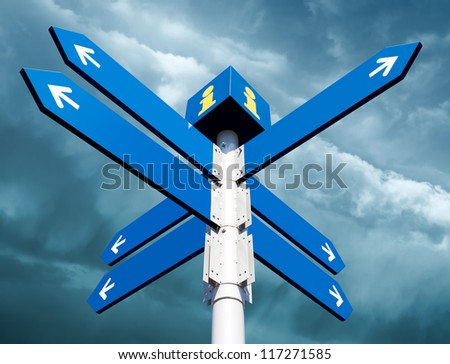 Blank directional road signs on sky background - stock photo