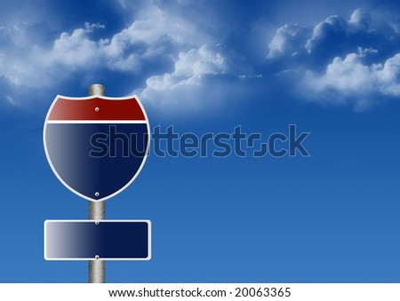 Blank Directional Sign Post - stock photo