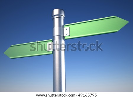 Blank directional sign showing opposite ways - 3d render