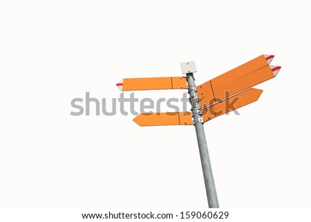 blank directional sign with 5 arrows isolated on white