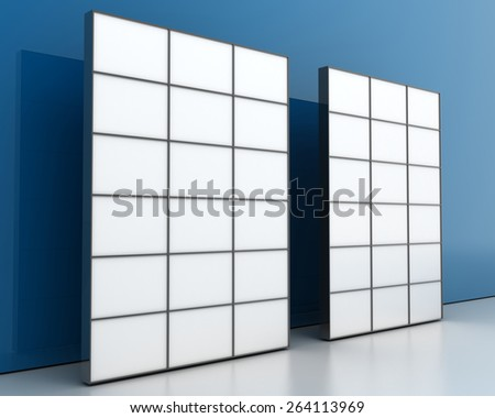 Blank display video walls, isolated on a blue surface, original 3d rendering.