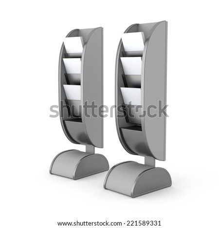 blank display with magazines or catalogues from front view - stock photo