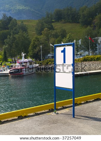 Blank Dock Marker in the harbour of Flam, Norway